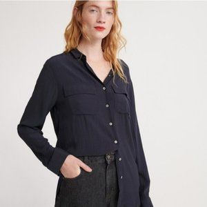 Something Navy Long Sleeve Button Down Shirt S New
